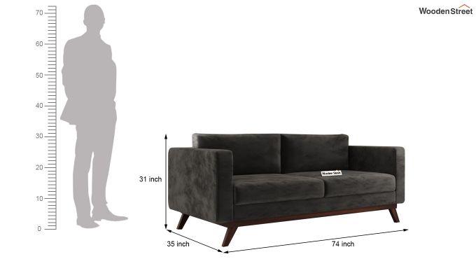 Casper 2 Seater Sofa (Velvet, Graphite Grey)-11