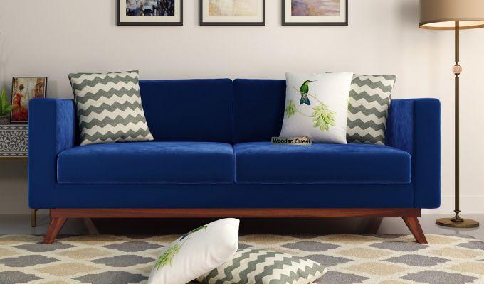 Casper 2 Seater Sofa (Velvet, Indigo Blue)-8