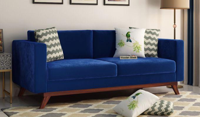Casper 2 Seater Sofa (Velvet, Indigo Blue)-7