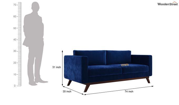 Casper 2 Seater Sofa (Velvet, Indigo Blue)-11