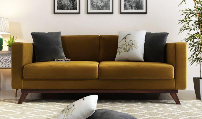 Casper 2 Seater Sofa (Velvet, Chestnut Brown)-8