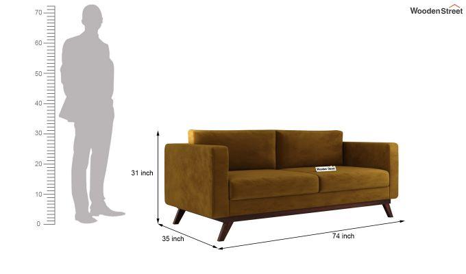 Casper 2 Seater Sofa (Velvet, Chestnut Brown)-11