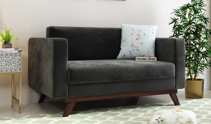 Casper 2 Seater Sofa (Velvet, Graphite Grey)-1