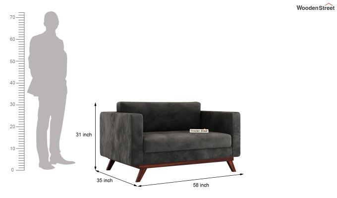 Casper 2 Seater Sofa (Velvet, Graphite Grey)-9