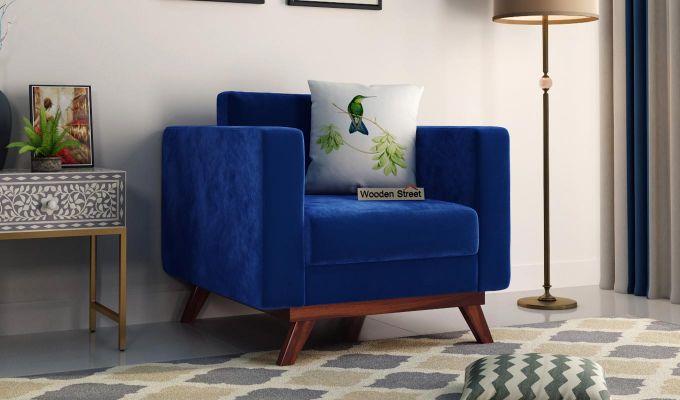 Casper 2 Seater Sofa (Velvet, Indigo Blue)-5