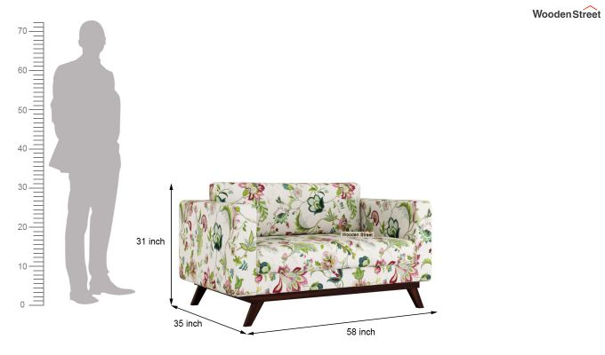 Casper 2 Seater Sofa (Fabric, Rose Vineyard)-10