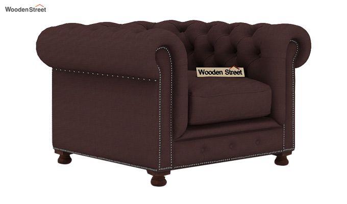 Crispix 1 Seater Chesterfield Sofa (Fabric, Classic Brown)-1