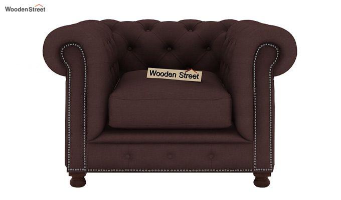 Crispix 1 Seater Chesterfield Sofa (Fabric, Classic Brown)-2
