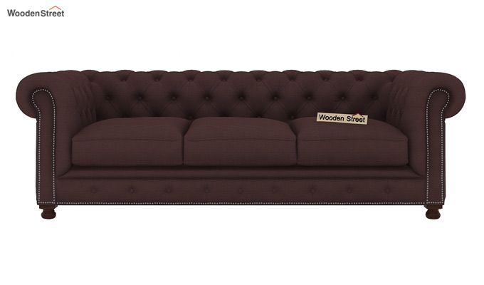 Crispix 3 Seater Chesterfield Sofa (Fabric, Classic Brown)-2
