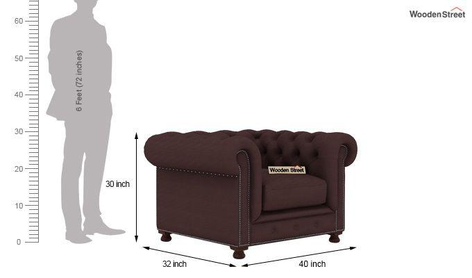 Crispix 1 Seater Chesterfield Sofa (Fabric, Classic Brown)-3