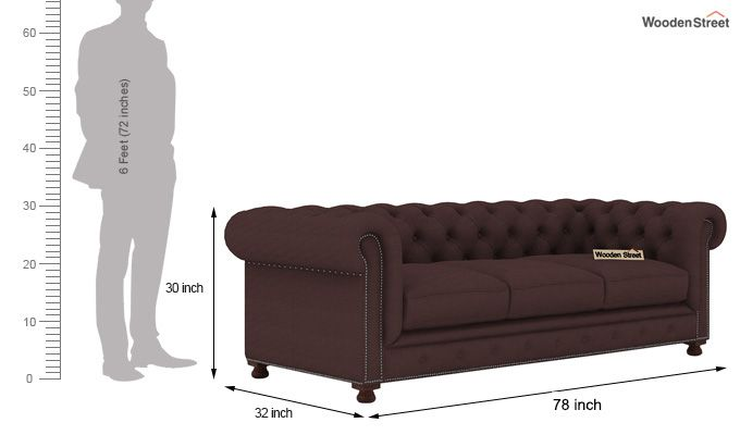 Crispix 3 Seater Chesterfield Sofa (Fabric, Classic Brown)-3