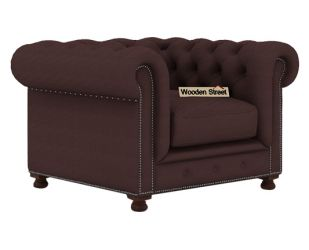 Crispix 1 Seater Chesterfield Sofa (Fabric, Classic Brown)