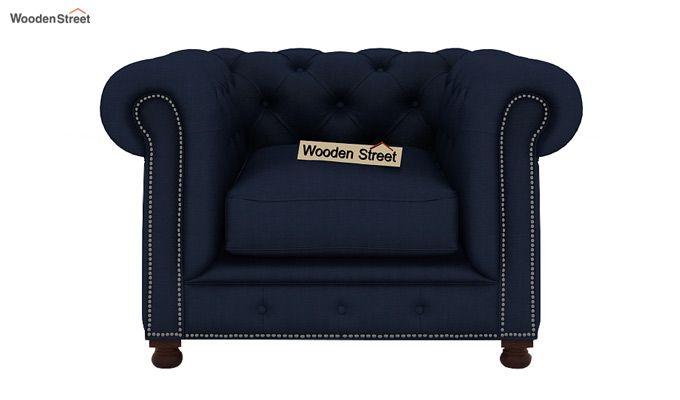 Crispix 1 Seater Chesterfield Sofa (Fabric, Indigo Ink)-2
