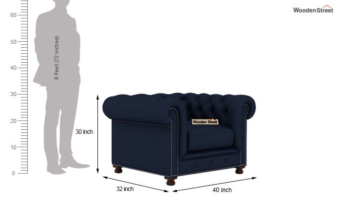 Crispix 1 Seater Chesterfield Sofa (Fabric, Indigo Ink)-3