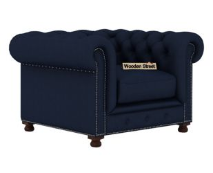 Crispix 1 Seater Chesterfield Sofa (Fabric, Indigo Ink)