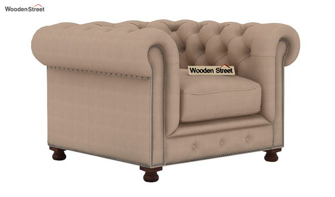 Crispix 1 Seater Chesterfield Sofa (Fabric, Irish Cream)-1