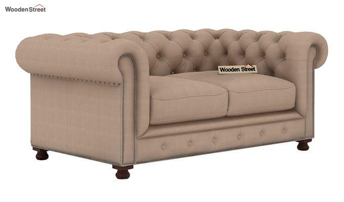 Crispix 2 Seater Chesterfield Sofa (Fabric, Irish Cream)-1