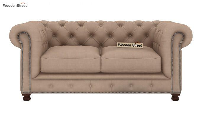 Crispix 2 Seater Chesterfield Sofa (Fabric, Irish Cream)-2
