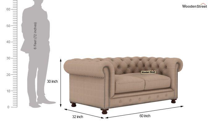 Crispix 2 Seater Chesterfield Sofa (Fabric, Irish Cream)-3