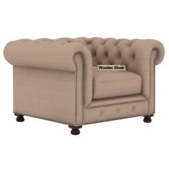 Crispix 1 Seater Chesterfield Sofa (Fabric, Irish Cream)