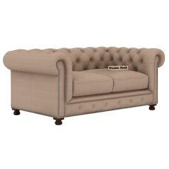 Crispix 2 Seater Chesterfield Sofa (Fabric, Irish Cream)