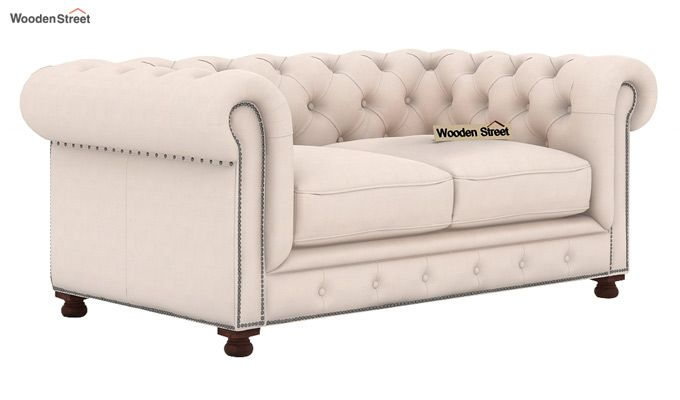 Crispix 2 Seater Chesterfield Sofa (Fabric, Ivory Nude)-1