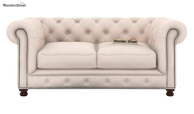 Crispix 2 Seater Chesterfield Sofa (Fabric, Ivory Nude)-2