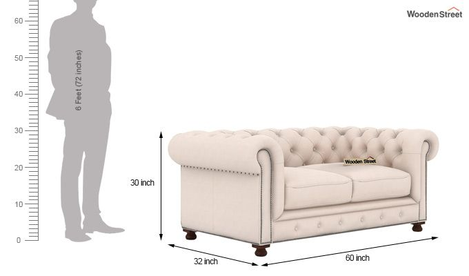 Crispix 2 Seater Chesterfield Sofa (Fabric, Ivory Nude)-3