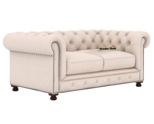 Crispix 2 Seater Chesterfield Sofa (Fabric, Ivory Nude)