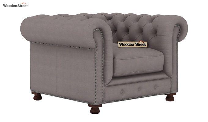 Crispix 1 Seater Chesterfield Sofa (Fabric, Warm Grey)-1