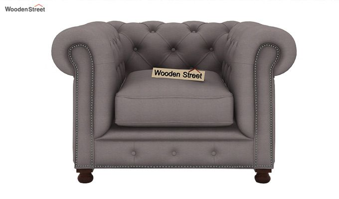 Crispix 1 Seater Chesterfield Sofa (Fabric, Warm Grey)-2