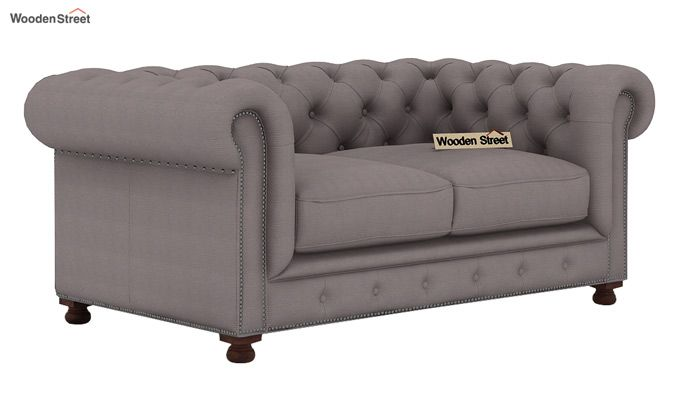 Crispix 2 Seater Chesterfield Sofa (Fabric, Warm Grey)-1