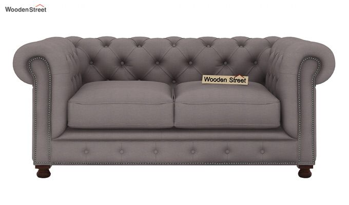 Crispix 2 Seater Chesterfield Sofa (Fabric, Warm Grey)-2