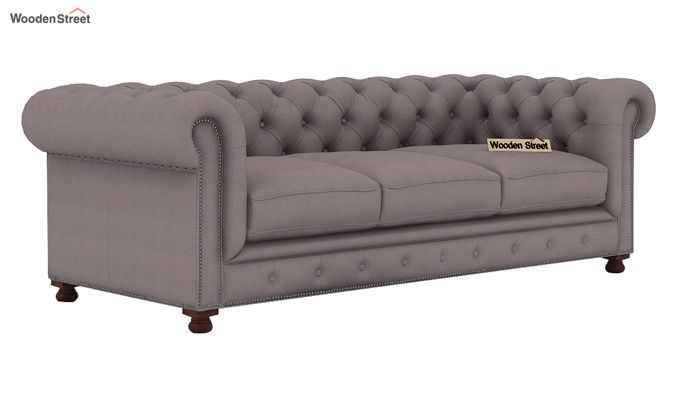 Crispix 3 Seater Chesterfield Sofa (Fabric, Warm Grey)-1