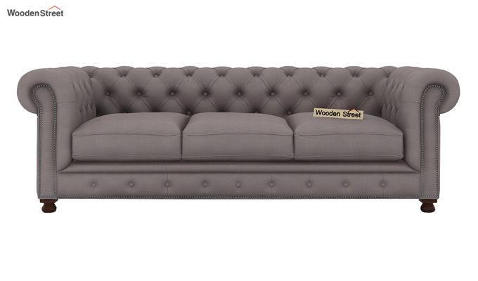 Crispix 3 Seater Chesterfield Sofa (Fabric, Warm Grey)-2