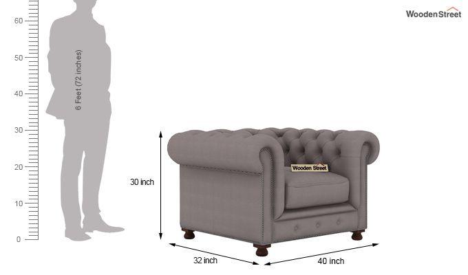 Crispix 1 Seater Chesterfield Sofa (Fabric, Warm Grey)-3