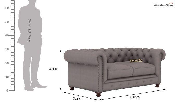Crispix 2 Seater Chesterfield Sofa (Fabric, Warm Grey)-3