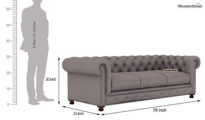 Crispix 3 Seater Chesterfield Sofa (Fabric, Warm Grey)-3