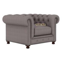 Crispix 1 Seater Chesterfield Sofa (Fabric, Warm Grey)