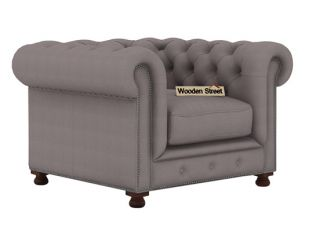 Crispix 1 Seater Chesterfield Sofa (Fabric, Warm Grey)