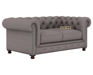 Crispix 2 Seater Chesterfield Sofa (Fabric, Warm Grey)