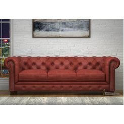 Crispix 3 Seater Chesterfield Sofa (Leatherette, Burnt Umber)