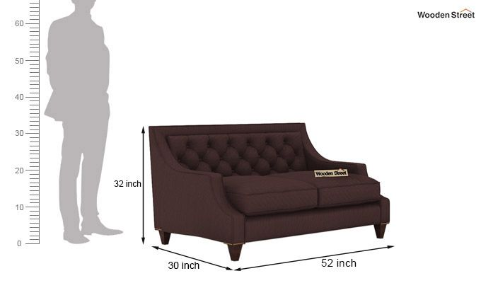 Daisy 2 Seater Sofa (Fabric, Classic Brown)-3