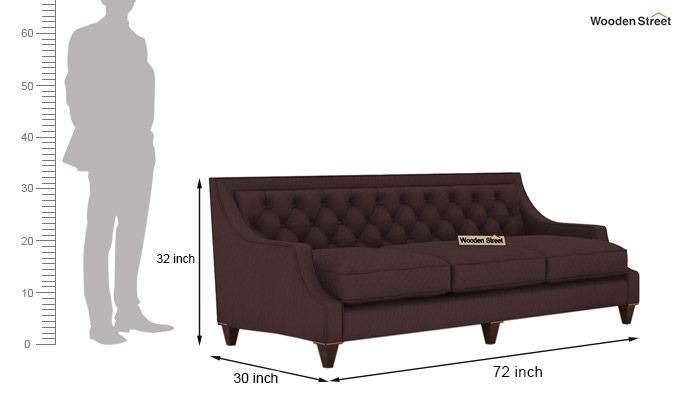 Daisy 3 Seater Sofa (Fabric, Classic Brown)-3