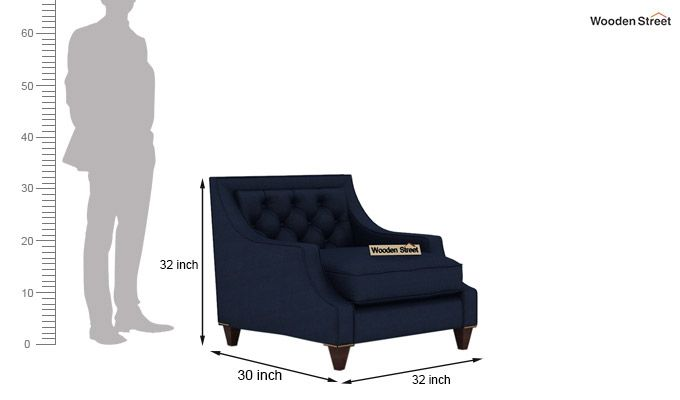 Daisy 3+1+1 Fabric Sofa Set  (Indigo Ink)-7