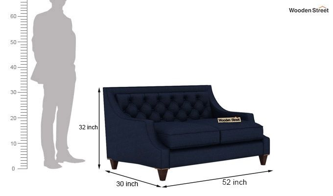 Daisy 2 Seater Sofa (Fabric, Indigo Ink)-3