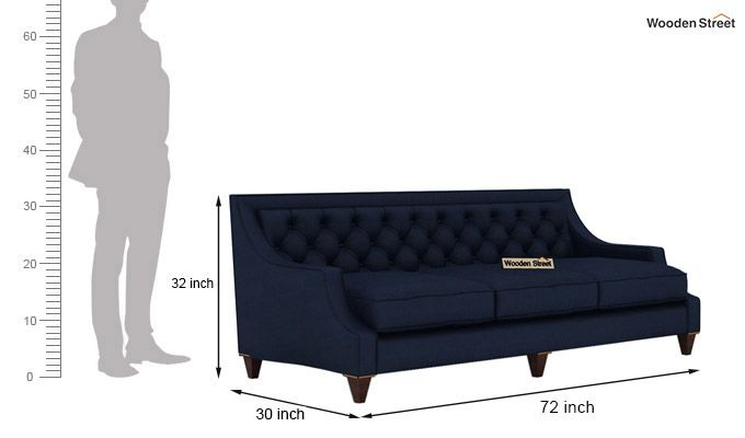 Daisy 3+1+1 Fabric Sofa Set  (Indigo Ink)-6
