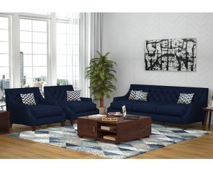 Daisy 3+1+1 Fabric Sofa Set  (Indigo Ink)