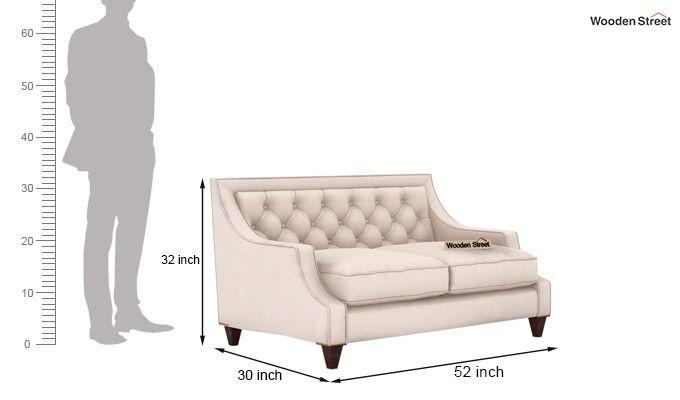 Daisy 2 Seater Sofa (Fabric, Ivory Nude)-3