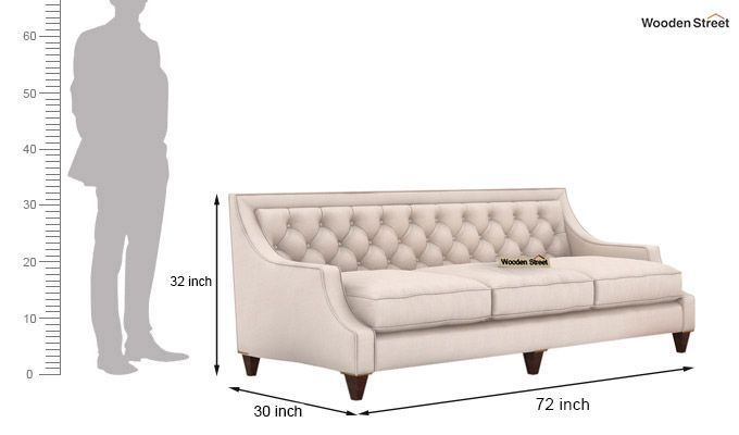 Daisy 3 Seater Sofa (Fabric, Ivory Nude)-3